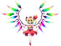 599140 - absurdres bell_(artist) blonde_hair flandre_scarlet gradient_hair hat hat_ribbon highres multicolored_hair ponytail red_eyes ribbon short_hair side_ponytail solo standing touhou transparent_background wings.png
